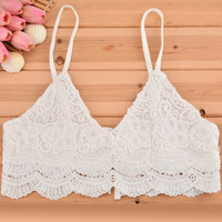 Beach Floral Lace Bralette - White or Black
