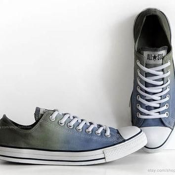blue olive green ombr dip dye converse all stars upcycled sneakers transformed vi
