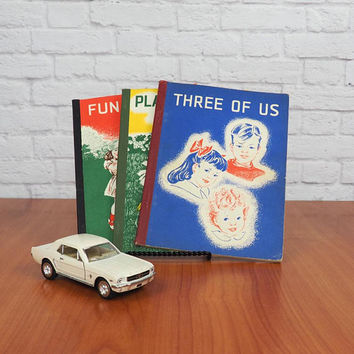 TRIO of Vintage 50s California Pre-Primer Developmental Reading Series Books | Vintage Color Illustrations