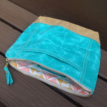 Teal Waxed canvas make up bag, cosmetics bag, toiletries bag, teal and tan waxed canvas