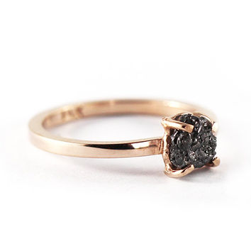 Black Diamond Engagement Ring Rose Gold Rough Raw Uncut Genuine Diamond Dainty Ring Valentine's Day Gift Ideas For Her