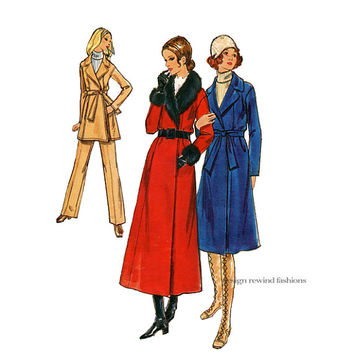 70s WRAP COAT Pants PATTERN Faux Fur Collar & Cuffs A-Line Coat Princess Seams Butterick 6384 Bust 32.5 UNCuT Womens Vintage Sewing Patterns
