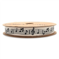 Black Musical Notes Cotton Ribbon, 5/8-inch, 10-yard