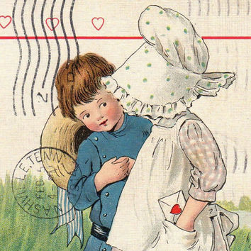 Charming Antique Tuck Valentine Greetings Postcard Early 1900s