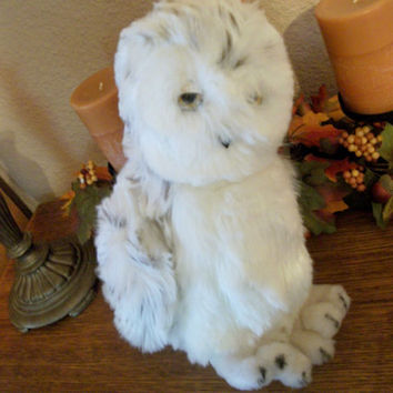 "Spotted White Owl 12"" Vintage Stuffed Plush Animal by Dakin Toy Fall Halloween Decor"