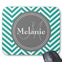 Monogrammed Teal Blue & Grey Zigzag Mousepads from Zazzle.com
