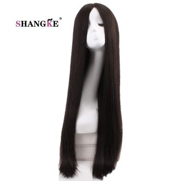 SHANGKE 30'' Long Straight Black Wig Women Hairstyles Heat Resistant Synthetic Wigs For Black Women African American Hairpieces