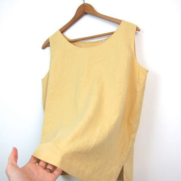 90s Silk Tank Top Canary Yellow SLOUCHY Blouse Loose Fit Minimal Crop Top Modern Tank Simple Basic Silk Top Vintage Medium Large
