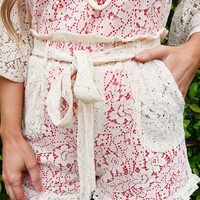 Laced With Love Shorts: Beige/Coral