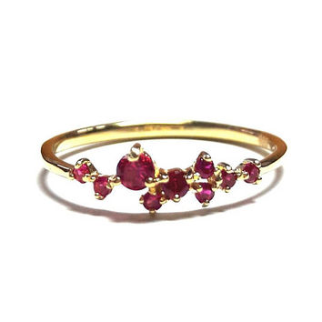14K Gold Dainty Ruby Ring-Gold Ring-Dainty Ring-Ruby Ring-925K Silver Handmade Zirconia Ruby Ring