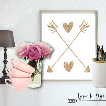 Gold Glitter Heart and Arrows - Art - Canvas - Poster - Print - Typography - wall art home decor - framed art - Digital Download files