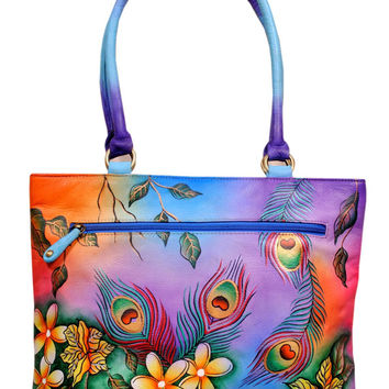 Hand Painted Genuine Leather Bag Heavenly Feathers