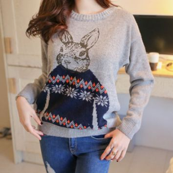 New Chic Bunny Rabbit Loose Hedging Sweater