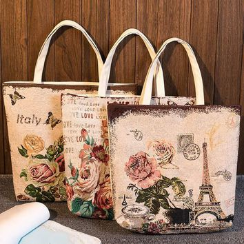 Fashion Women Canvas Tote Floral Tower Printed Handbag Summer Beach Bag Girls Embroidery Shoulder Bags LBY2017