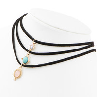 3 Stone Throat Chakra Leather Choker