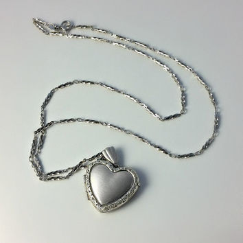 Victorian Sterling Heart Locket - Sterling Silver Necklace and Locket - Engraved Heart Locket Pendant