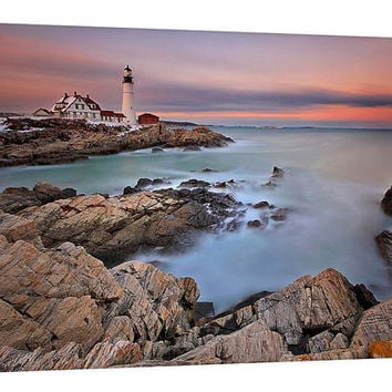 SALE Large Canvas Print Wall Art Lighthouse Sunset Ocean Beach Portland Maine Long Exposure Photo Coastal Home Decor New England