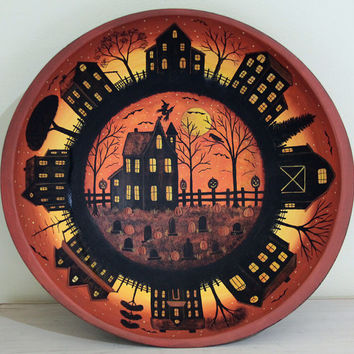 Halloween Folk Art Trick or Treat Bowl, Spooky House, Cemetery, Primitive Saltbox Village at Sunset, Flying Witch, Pumpkins MADE TO ORDER