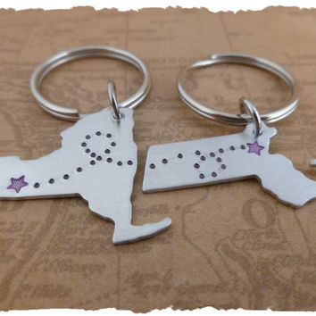 Friends Couples Long Distance Love State Map USA KeyChains Long Distance Love LDR Hand Stamped going away gift long distance family his her
