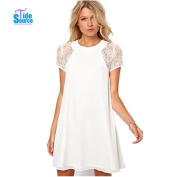 Elegant Lace Patchwork Short Sleeve Back Button Chiffon Women's Summer Dress