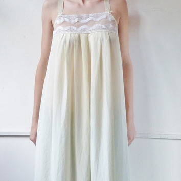 vintage LEMON DROP nightdress. small. uk 10. full length. summer negligee. nightgown. trapezium. ankle length. st michael. spring