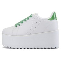 ONETOW Women's Lala White Green Platform Sneakers