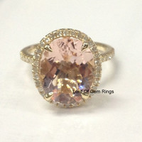 Morganite Engagement Promise Ring .4ct Diamond,Oval Cut 10x12mm,14K Yellow Gold