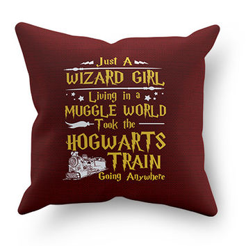 Just a Wizard Girl Pillow Cover
