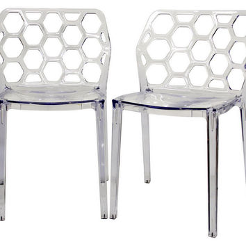 Clear Honeycomb Dining Chairs, Pair, Acrylic / Lucite, Dining Chair Sets