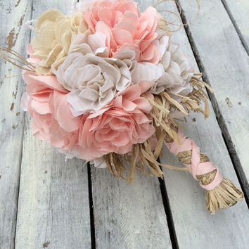 Peach Bridal Bouquet, Wedding Bouquet, Peach Fabric Bouquet, Wedding, Peach, Bride, Rustic Wedding, Country Wedding, Bouquet Wrap, Favor