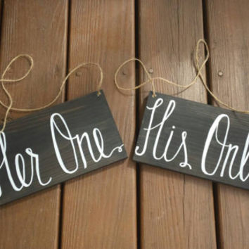Her One, His Only Wedding Chair Signs, Rustic Wedding Decor, Reception Decor, Bride and Groom, Wedding Photo Props, Chalkboard Wedding Signs