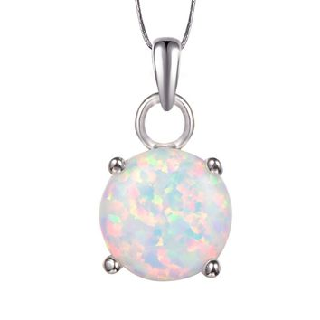 White Fire Opal Pendant 925 Sterling Silver