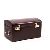 """Large Brown """"Croco"""" Leather Jewelry Chest"""