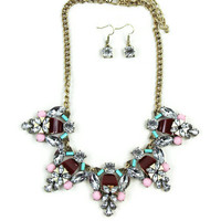 The Candy Crazy Necklace and Earring set in Gold