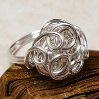 Swirled Rosette wire wrap Ring, Sterling Plated Craft Wire wrap swirls Ring, Size 7 3/4 or 7.75, Double shank Ring ready to ship, Etsy gifts