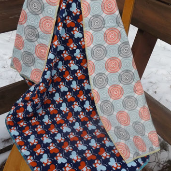 Butterflies Flannel Receiving or Swaddling Blanket, Double Layer, 2 Layer Serged Blanket, New Design, Crib or Stroller Blanket