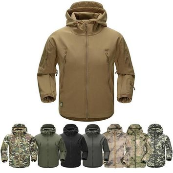 Winter Shark Skin Soft Shell Hooded Jacket Tactical Military Army Lurker Mens Camping Hiking Hoodie Thermal Warm Coat Camouflage