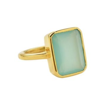 Large Baguette Gold Bezel Ring