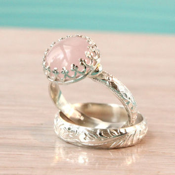 Rose quartz ring set, sterling silver, 10 mm light pink gemstone, set of 2, floral bands, wedding, engagement, bridal, promise rings