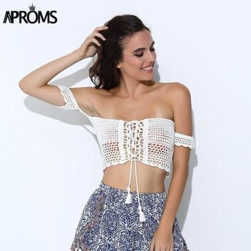 Aproms Sexy Knitted Crochet  White Crop Tops Bikini Beachwear 90s Girls Casual Lace Up Off Shoulder Bikini Bra Tank Top Cropped