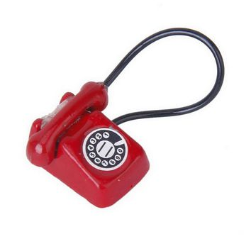 Retro Push Button Desk Model Phone for Dollhouse/Interior Landscaping---Red