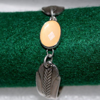 Beautiful Antique Spoon Bracelet with Coral Stone