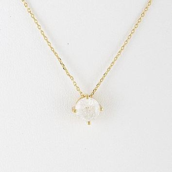 Faux Circle Crystal Pendant Necklace