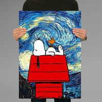 Poster Print Starry Night Snoopy The Peanuts Wall Decor Canvas Print - halawatani.com