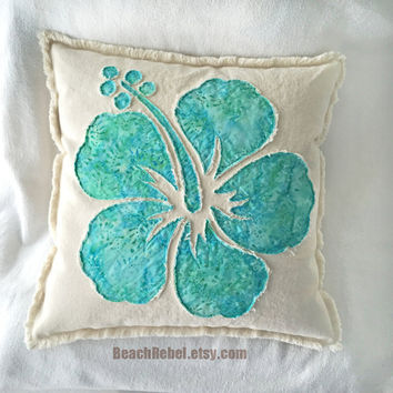 Hibiscus flower pillow cover in aqua teal floral batik and natural distressed denim boho pillow cover 18""
