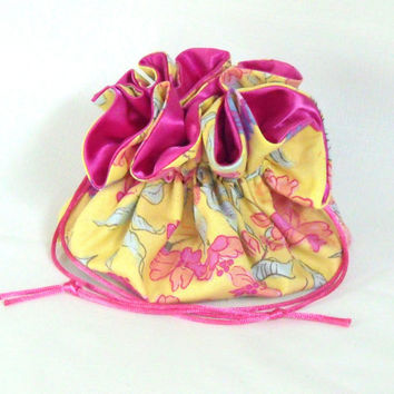 Drawstring Jewelry Travel Bag, Tote, Pouch Sparrows and Blossoms Large