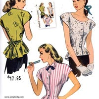 40s Retro Blouse pattern Vintage Reproduction sewing pattern Simplicity 1590 Sz 16 to 24 or 6 to 14 UNCUT