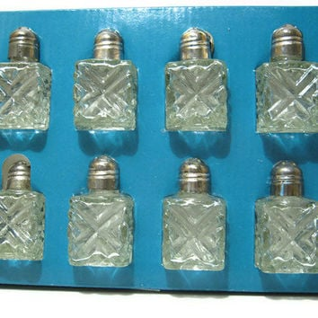 Vintage Olde Chelsea Silversmiths Silver Plated Glass Salt and Pepper Shaker Set