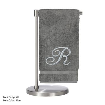 Monogrammed Bath Towel, Personalized Gift, 27 x 54 Inches - Set of 2 - Silver Script Embroidered Towel - 100% Turkish Cotton- Soft Terry Finish - For Bathroom,Kitchen or Spa - Script R Gray