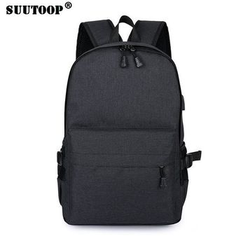 Student Backpack Children suutoop backpack USB 15.6 inch laptop bag men women large capacity black backpacks school bags student backpack weekend Mochila AT_49_3